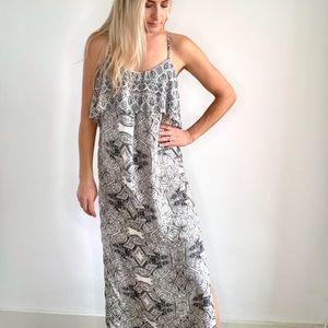 Anthropologie Black & Cream Paisley Maxi Dress 8